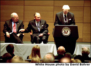 "Vice President Dick Cheney and Jon Huntsman listen to an introduction by Gordan B. Hinckley during the dedication ceremony of Jon Huntsman Hall at the University of Pennsylvania's Wharton School of Business in Philadelphia, Pa., Oct. 25, 2002. ""(Jon Huntsman) has to rank among the most successful and public-minded citizens any place in our nation,"" said the Vice President during his remarks about his friend of more than 30 years. ""In every setting -- public, private, and personal -- I've found him to be one of the people I most admire, a man of discernment, of character, and humanity."" White House photo by David Bohrer."