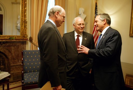 After casting the deciding vote for Congressional approval of a $350 billion jobs and growth package, Vice President Dick Cheney talks with Secretary of the Treasury John Snow, left, and Secretary of Commerce Don Evans in his Senate office at the U.S. Capitol Friday, May 23, 2003. White House photo by David Bohrer.