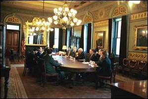 Photo of Vice President Cheney attending a meeting in the Vice President\'s Ceremonial Office. None