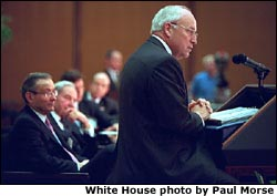 "Vice President Dick Cheney addresses the 32nd Annual Council of The Americas Conference at the State Department May 6, 2002. ""The nations of this hemisphere have the power and, therefore, the duty to make the coming years an era of steady progress, peaceful change and rising prosperity throughout the Americas. The Council of the Americas has been crucial to bringing us to this moment, and I know that we can count on your wisdom and your commitment in completing the great work that lies ahead,"" said the Vice President."