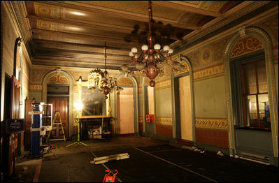 The Vice President's Ceremonial Office shown after a fire erupted ...