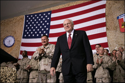 Vice President Dick Cheney participates in a rally for the troops at Bagram Air Base, Afghanistan Monday, Dec. 19, 2005. White House photo by David Bohrer