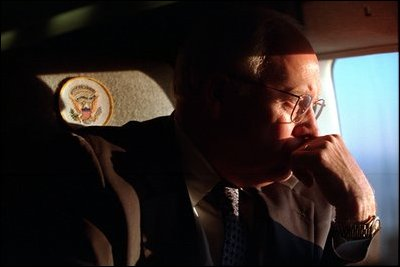 Vice President Dick Cheney looks out the window of Marine Two, the ...