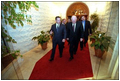 After attending a working dinner at the Al-Baraka Palace, Vice President Dick Cheney departs with King Abdullah II of Jordan March 12.