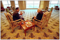 "Vice President Dick Cheney talks privately with Egyptian President Hosni Mubarak in Sharm El-Sheikh, Egypt, March 13. ""There is a close friendship between our two countries,"" said the Vice President at a joint press briefing later that day. ""We have a common interest in assuring a stable, peaceful and prosperous future for all the people of the region."""