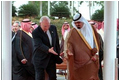 Vice President Dick Cheney and Crown Prince Abdullah of Saudi Arabia extend courtesies to each other as they enter the area where the two leaders will stand during an arrival ceremony in Jeddah, Saudi Arabia, March 16.