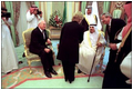 Vice President Dick Cheney and Lynne Cheney greet King Fahd of Saudi Arabia in Jeddah, Saudi Arabia, March 16.