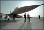 Standing under a compact, 16-foot tall F-16 fighter jet, Vice President Dick Cheney talks with an Air Force pilot on his tour of the Al-Udeid Airbase in Qatar, March 17.