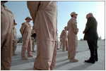 Vice President Dick Cheney thanks troops stationed at Al-Udeid Airbase for their determined effort in the war against terror in Qatar March 17.
